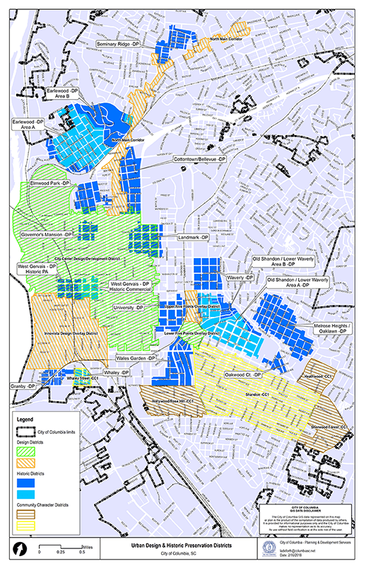 Map of Design and Preservation Districts